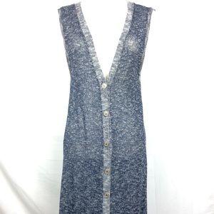 Soft surroundings blue button Cardigan size large